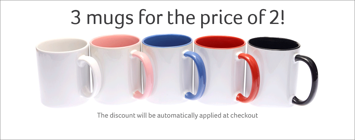 3 for 2 on Personalised Mugs