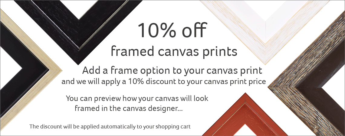 10% off canvas with frame option